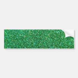 Green faux glitter graphic car bumper sticker