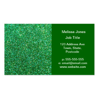 Green faux glitter graphic business card