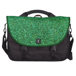 Green faux glitter graphic bags for laptop
