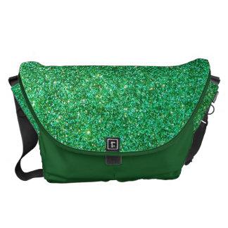 Green faux glitter graphic messenger bag