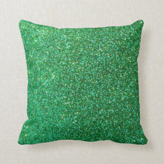 Green faux glitter graphic pillow