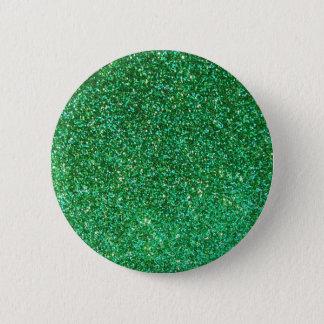 Green faux glitter graphic pinback button