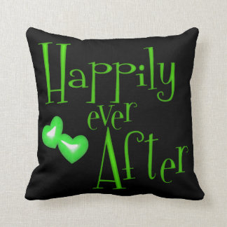 Green Faux Glitter Happily Ever After Hearts Throw Pillow