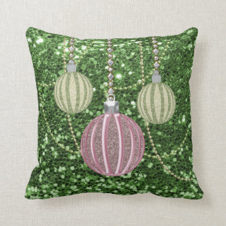 Green Faux Glitter Pink &Green Xmas Ball Ornaments Throw Pillow