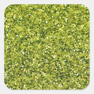GREEN (faux) GLITTER Square Sticker