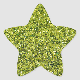 GREEN (faux) GLITTER Star Sticker