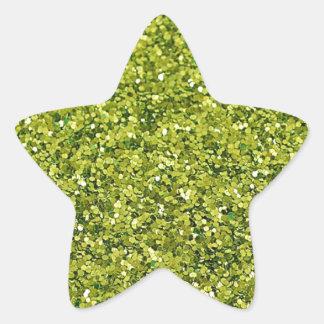 GREEN (faux) GLITTER Star Sticker