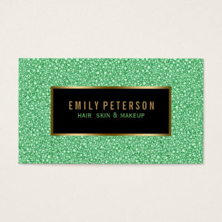 Green Faux Glitter With Black And Gold Accents Business Card
