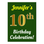[ Thumbnail: Green, Faux Gold 10th Birthday Celebration + Name Invitation ]