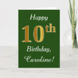 [ Thumbnail: Green, Faux Gold 10th Birthday + Custom Name Card ]