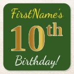 [ Thumbnail: Green, Faux Gold 10th Birthday + Custom Name Paper Coaster ]
