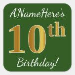 [ Thumbnail: Green, Faux Gold 10th Birthday + Custom Name Sticker ]
