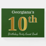 [ Thumbnail: Green, Faux Gold 10th Birthday Party + Custom Name Guest Book ]