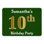 [ Thumbnail: Green, Faux Gold 10th Birthday Party + Custom Name Invitation ]