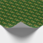 [ Thumbnail: Green, Faux Gold 10th (Tenth) Event Wrapping Paper ]