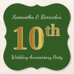 [ Thumbnail: Green, Faux Gold 10th Wedding Anniversary Party Paper Coaster ]