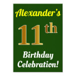 [ Thumbnail: Green, Faux Gold 11th Birthday Celebration + Name Invitation ]