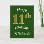 [ Thumbnail: Green, Faux Gold 11th Birthday + Custom Name Card ]