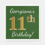 [ Thumbnail: Green, Faux Gold 11th Birthday + Custom Name Paper Napkin ]