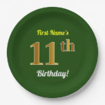 [ Thumbnail: Green, Faux Gold 11th Birthday + Custom Name Paper Plate ]