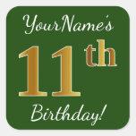 [ Thumbnail: Green, Faux Gold 11th Birthday + Custom Name Sticker ]