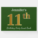 [ Thumbnail: Green, Faux Gold 11th Birthday Party + Custom Name Guest Book ]