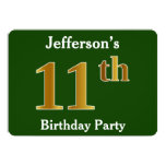 [ Thumbnail: Green, Faux Gold 11th Birthday Party + Custom Name Invitation ]