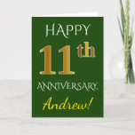 [ Thumbnail: Green, Faux Gold 11th Wedding Anniversary + Name Card ]