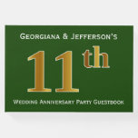[ Thumbnail: Green, Faux Gold 11th Wedding Anniversary Party Guest Book ]