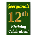 [ Thumbnail: Green, Faux Gold 12th Birthday Celebration + Name Invitation ]