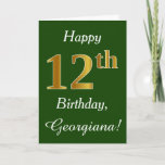 [ Thumbnail: Green, Faux Gold 12th Birthday + Custom Name Card ]