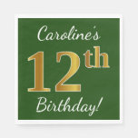 [ Thumbnail: Green, Faux Gold 12th Birthday + Custom Name Napkin ]