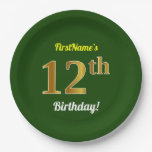 [ Thumbnail: Green, Faux Gold 12th Birthday + Custom Name Paper Plate ]