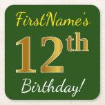 [ Thumbnail: Green, Faux Gold 12th Birthday + Custom Name Paper Coaster ]