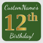 [ Thumbnail: Green, Faux Gold 12th Birthday + Custom Name Sticker ]
