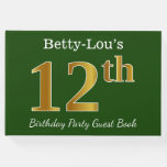 [ Thumbnail: Green, Faux Gold 12th Birthday Party + Custom Name Guest Book ]