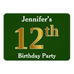 [ Thumbnail: Green, Faux Gold 12th Birthday Party + Custom Name Invitation ]