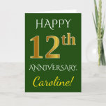 [ Thumbnail: Green, Faux Gold 12th Wedding Anniversary + Name Card ]