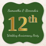[ Thumbnail: Green, Faux Gold 12th Wedding Anniversary Party Paper Coaster ]