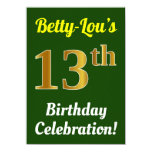 [ Thumbnail: Green, Faux Gold 13th Birthday Celebration + Name Invitation ]