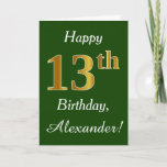 [ Thumbnail: Green, Faux Gold 13th Birthday + Custom Name Card ]