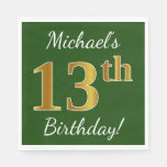 [ Thumbnail: Green, Faux Gold 13th Birthday + Custom Name Paper Napkin ]