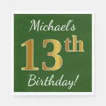 [ Thumbnail: Green, Faux Gold 13th Birthday + Custom Name Paper Napkin ]