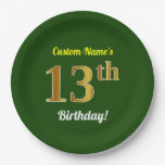 [ Thumbnail: Green, Faux Gold 13th Birthday + Custom Name Paper Plate ]