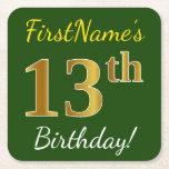 [ Thumbnail: Green, Faux Gold 13th Birthday + Custom Name Paper Coaster ]