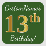 [ Thumbnail: Green, Faux Gold 13th Birthday + Custom Name Sticker ]