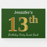[ Thumbnail: Green, Faux Gold 13th Birthday Party + Custom Name Guest Book ]