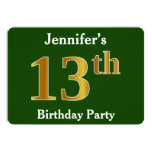 [ Thumbnail: Green, Faux Gold 13th Birthday Party + Custom Name Invitation ]