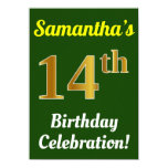 [ Thumbnail: Green, Faux Gold 14th Birthday Celebration + Name Invitation ]