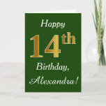 [ Thumbnail: Green, Faux Gold 14th Birthday + Custom Name Card ]